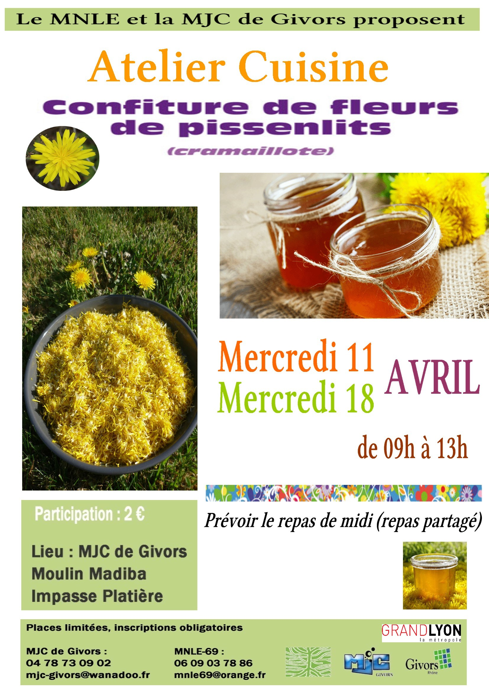 Atelier confiture de fleurs de pissenlit @ MJC Madiba | Givors | Auvergne-Rhône-Alpes | France